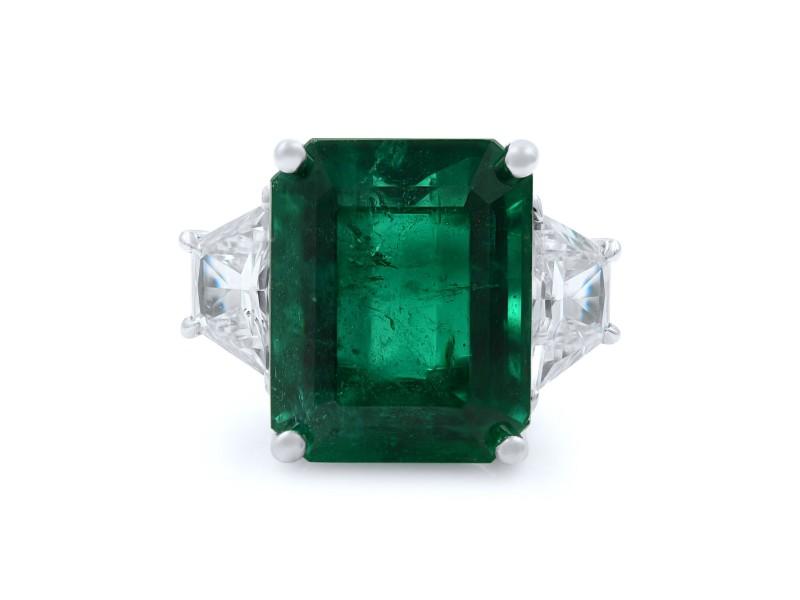 Rachel Koen Three Stone 9.39ct Emerald Diamond Ring 18K White Gold Size 6.5