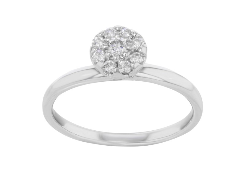 18K White Gold Round Cut Diamonds Womens Engagement Ring 0.40 Cttw Size 7.5