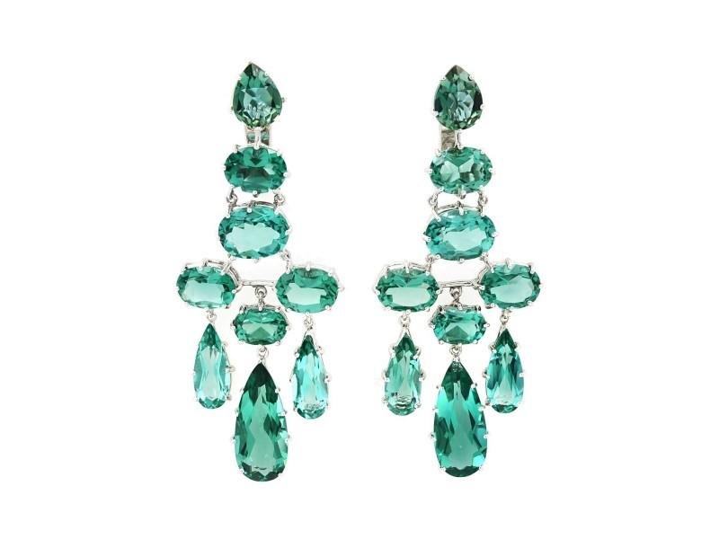 Rachel Koen 14K White Gold Green Quartz 24.82cttw Earrings