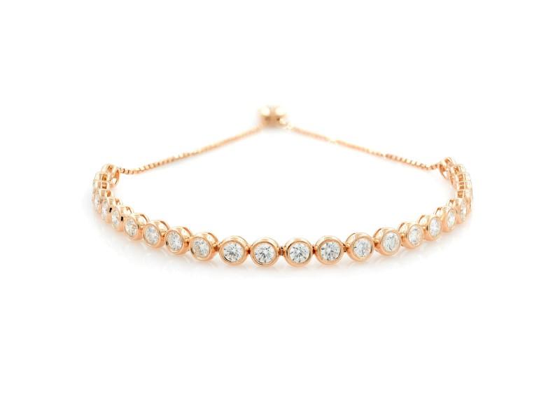 Rachel Koen 14K Rose Gold Diamond Ladies Bezel Bolo Bracelet 3.50 cttw