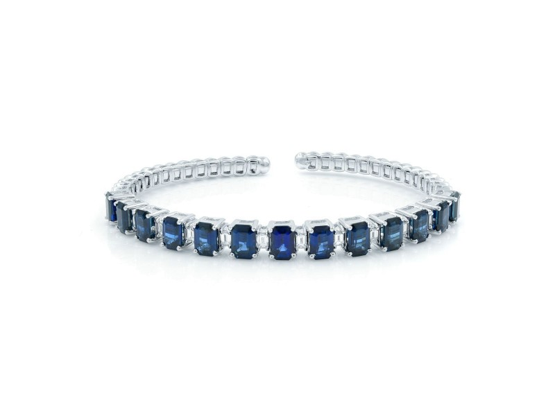 Rachel Koen Sapphire Diamond Bangle Bracelet Cuff 10.20ct 18K White Gold