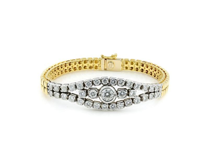 Rachel Koen 18K Gold Diamond Smooth Bracelet 2.75cttw