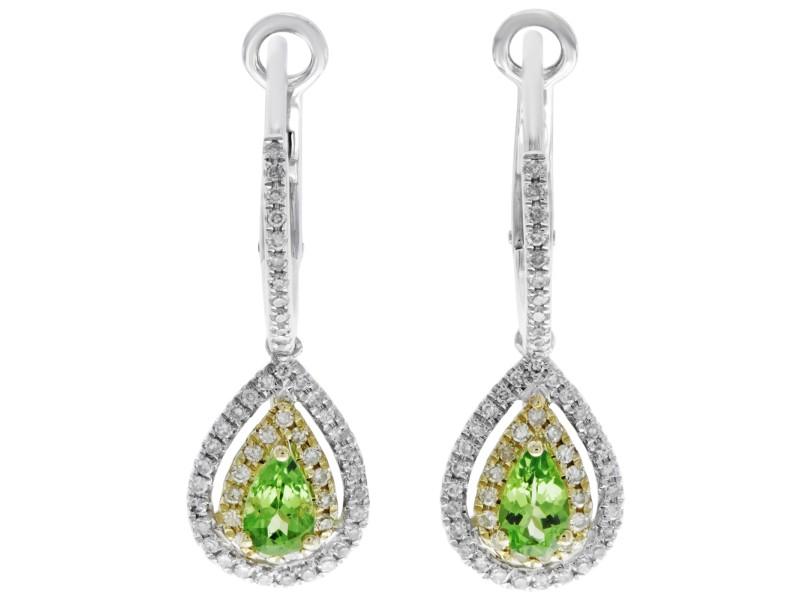 Rachel Koen Double Pave Drop Green Garnet Earrings Hinged Backing Earring 14K
