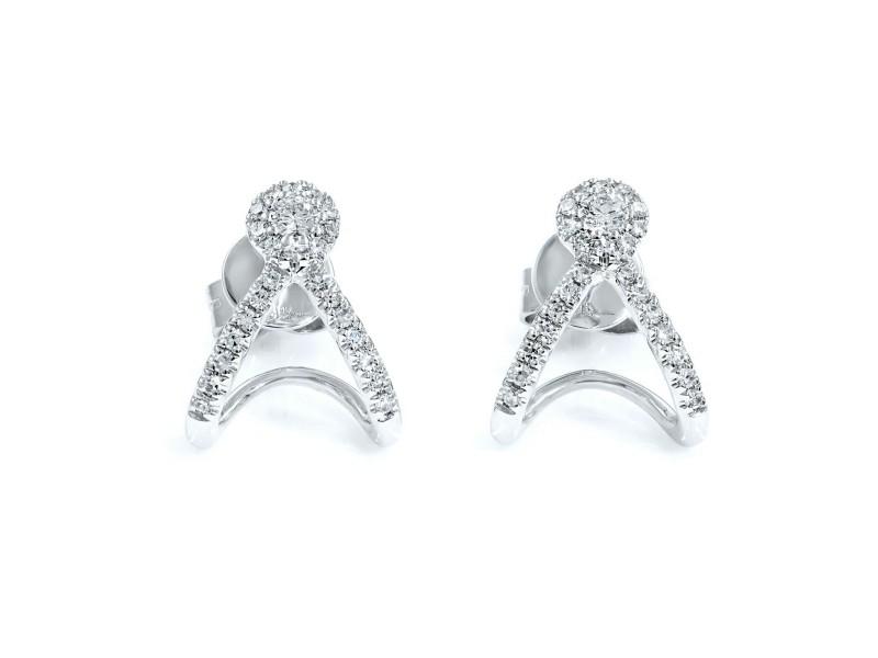 14K White Gold Pave Diamond 0.20cttw Earrings