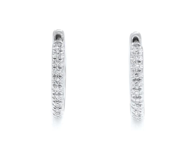 Rachel Koen 14K White Gold Diamond Huggie Earrings 10mm 0.07cttw