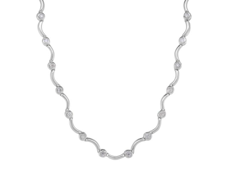 Rachel Koen 18k White Gold Diamond Link Necklace 0.95 cttw