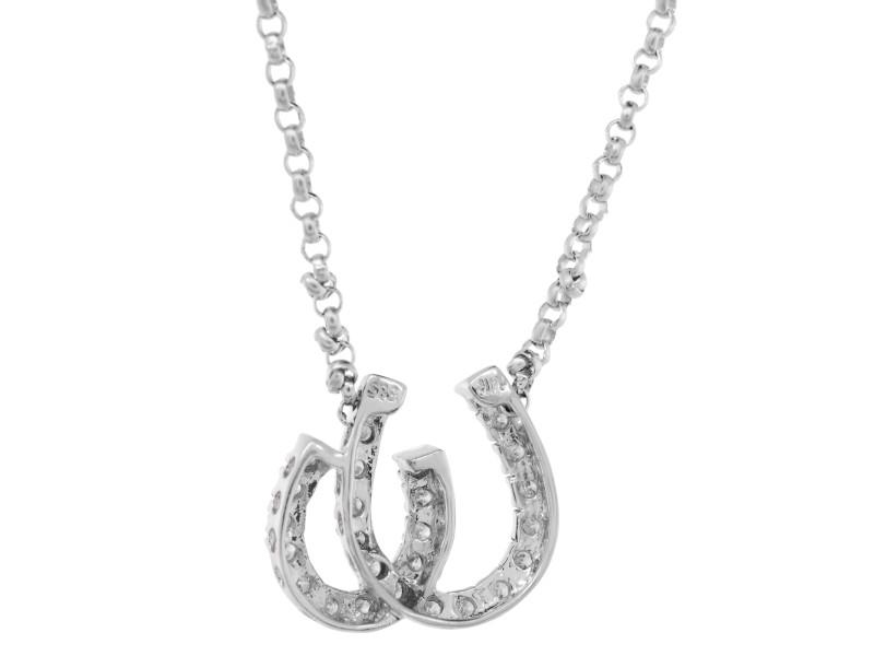 Rachel Koen 14k White Gold Horse Show Diamond 0.20cts Charm Pendant Necklace