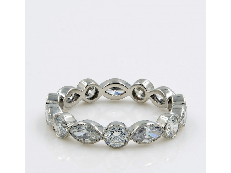 Rachel Koen 1.75cts Platinum Marquise and Round Diamonds Eternity Band Size 6.5