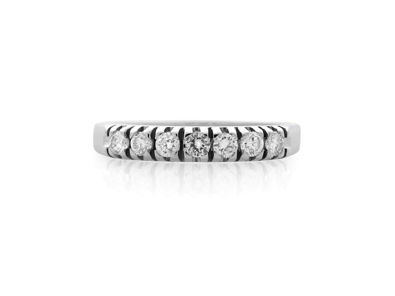 Rachel Koen 14K White Gold Pave Diamond Wedding Band Ring 0.21cts Size 7.5
