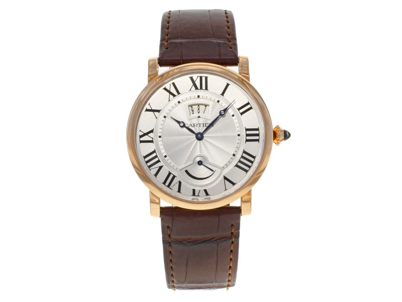 Cartier Rotonde Silver Guilloche 18K Rose Gold Hand Wind Mens Watch W1556252