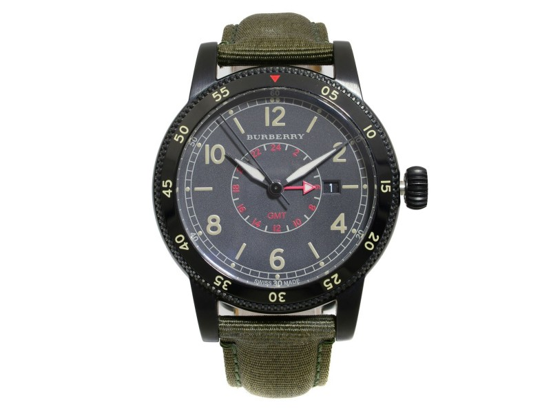 Burberry Utilitarian GMT Black Ion Plated Steel Nylon Quartz Mens Watch BU7855