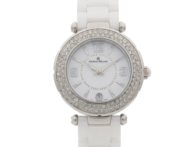 Giorgio Milano Ceramic Date White Dial Quartz Ladies Watch 906CWST01