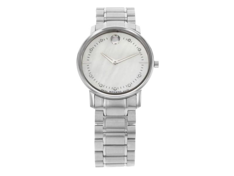 Movado TC Museum Steel MOP Diamond Dial Quartz Ladies Watch 0606691