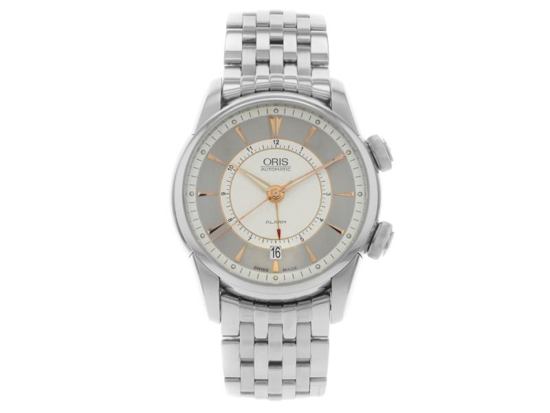 Oris Artelier Alarm Silver Dial Steel Automatic Men Watch 01 908 7607 4051-Set-M