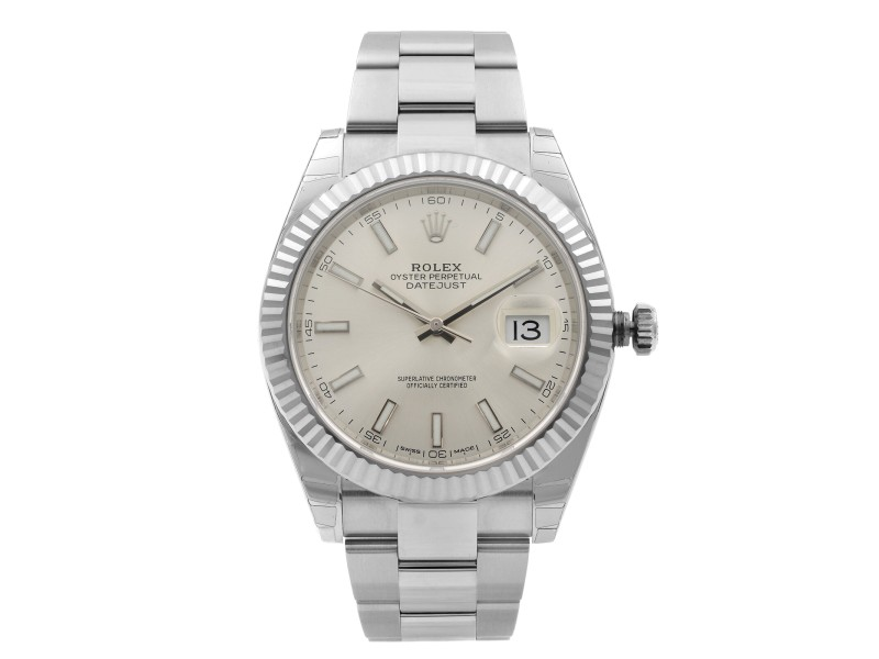 Rolex Datejust 41 Steel 18K White Gold Silver Sticks Mens Dial Watch 126334SIO