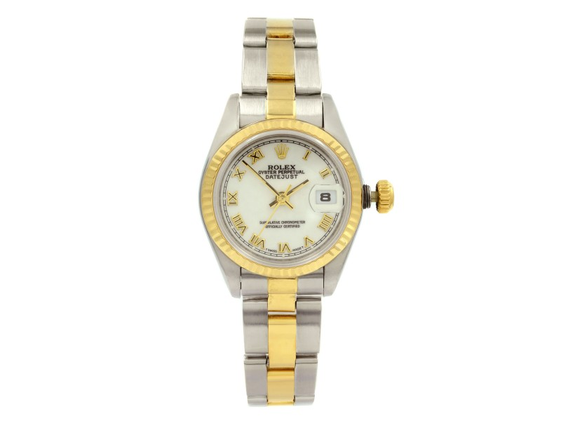 Rolex Datejust 26 18K Gold Steel No Hole White Roman  Dial Lady Watch 69173