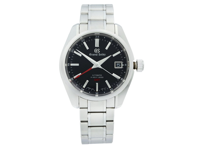 Grand Seiko Heritage Hi Beat 36000 GMT Steel BlacK Dial Mens Watch SBGJ203