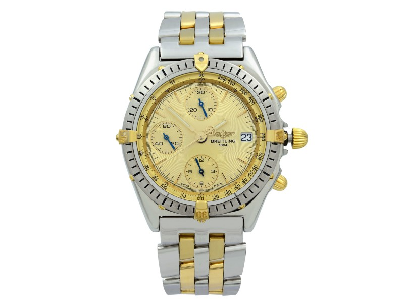 Breitling Chronomat 18K Yellow Gold Steel Gold Dial Automatic Mens Watch B13048