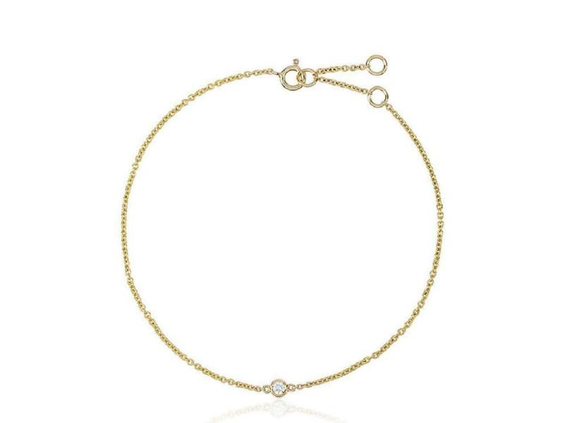 Rachel Koen Delicate Single Diamond Yellow Gold Bracelet 0.10 cttw