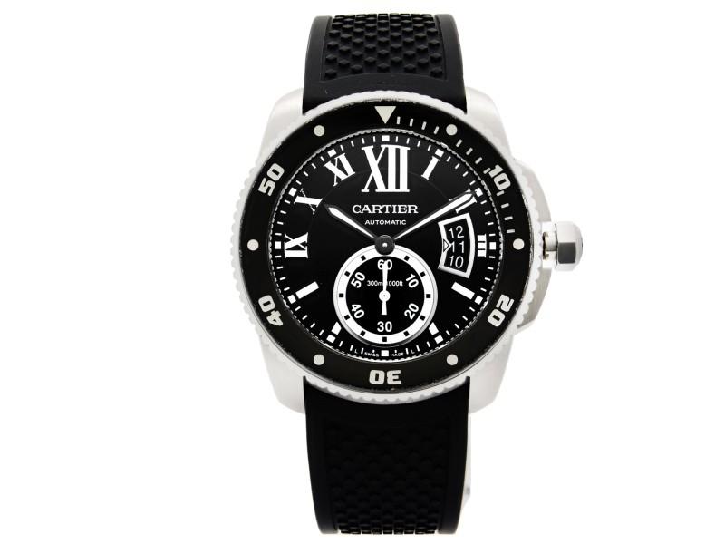 Cartier Calibre de Cartier Steel Black Roman Dial Automatic Mens Watch W7100056
