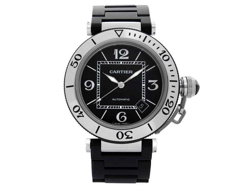 Cartier Pasha Seatimer Steel Rubber Black Dial Automatic Mens Watch W31077U2