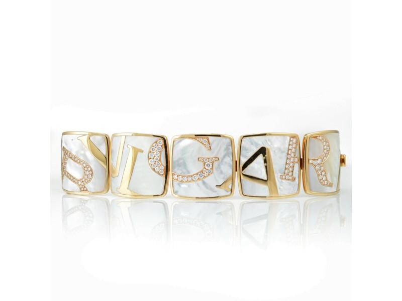 Bvlgari Graffiti 18K Rose Gold Mother of Pearl Diamond Bracelet 4.56cttw