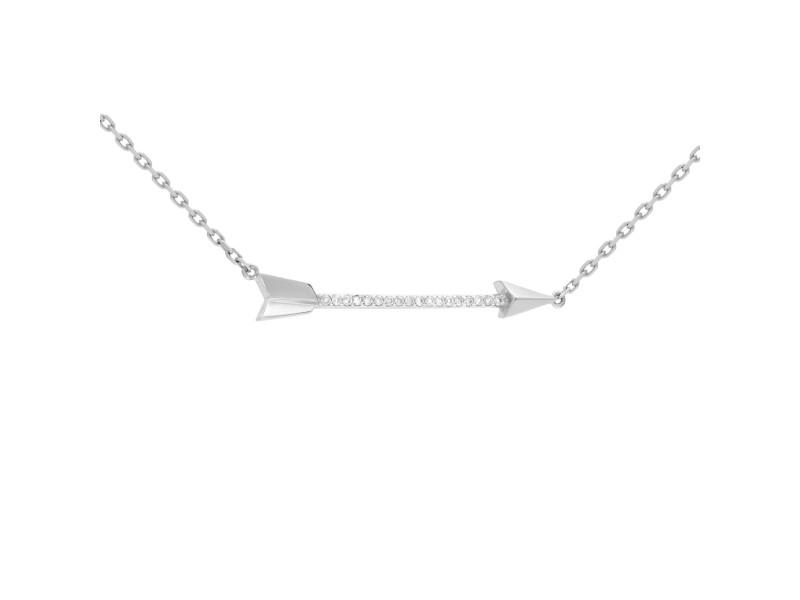 Rachel Koen 14k White Gold Diamond Arrow Necklace 0.10cttw