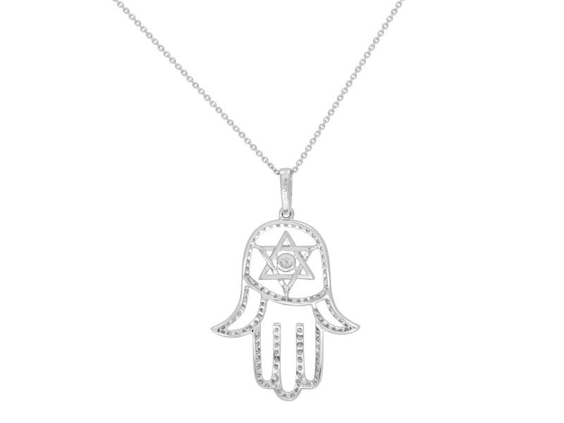 Rachel Koen 14k White Gold Diamond Hamsa Ladies Pendant 0.65cttw