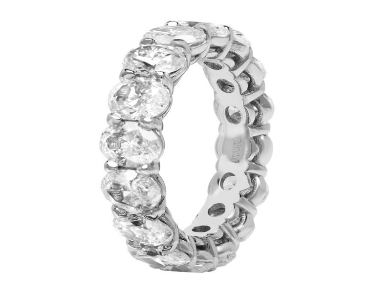 Rachel Koen Platinum Oval Diamond Eternity Band Ring 6.77cttw Size 6