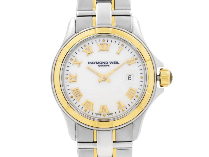 Raymond Weil Parsifal 18k Gold Steel White Roman Dial Ladies Watch 9460-SG-00308