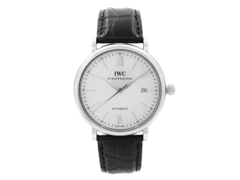 IWC Portofino Stainless Steel Silver Dial Leather Automatic Mens Watch IW356501