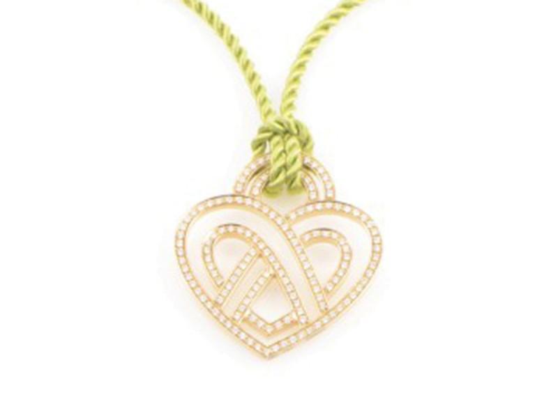 Poiray 18K Yellow Gold Diamond Heart Pendant & Cord Necklace