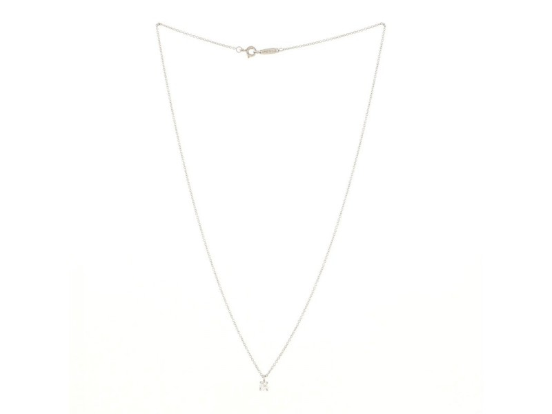 Tiffany & Co. Solitaire diamond pendant Necklace Platinum and DIamond .17CT