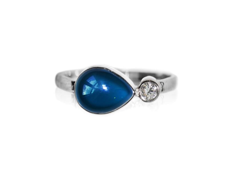 Sterling Silver London Blue Topaz, White Topaz Ring