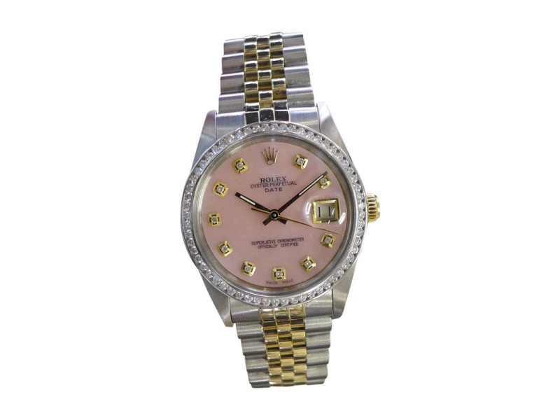 Rolex Oyster Perpetual Date Yellow Gold and Stainless Steel Diamond 34mm Watch