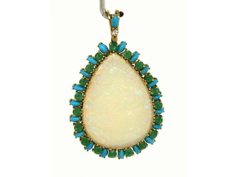 18K Yellow Gold Fire Opal, Emerald, Diamond & Turquoise Pendant