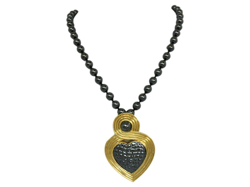 Gucci Convertible 18k Yellow Gold & Hematite Heart Pendant Necklace