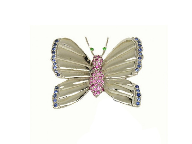 Le Vian 14k White Gold Blue & Pink Sapphire Butterfly Pin