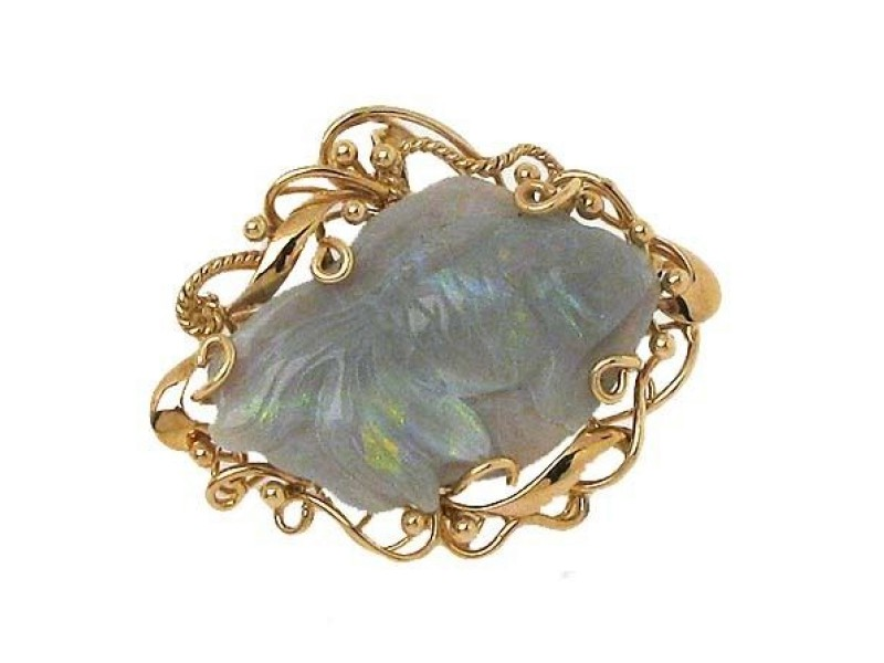 14K Yellow Gold Opal Pin Pendant