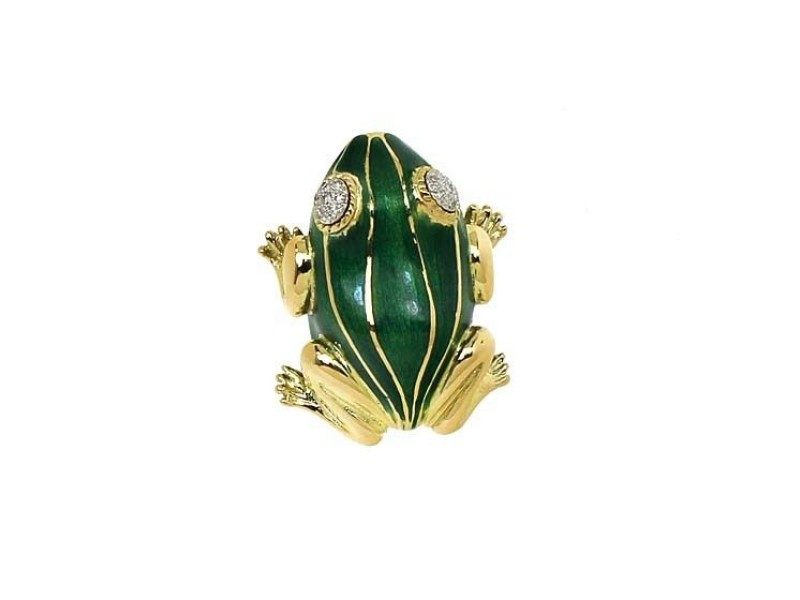 18K Yellow Gold Diamond & Enamel Frog Pin Brooch