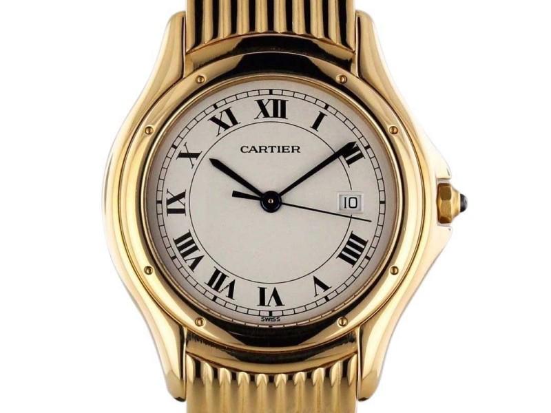 Cartier Cougar 1165-1 18K Yellow Gold Bracelet Quartz Movement Watch
