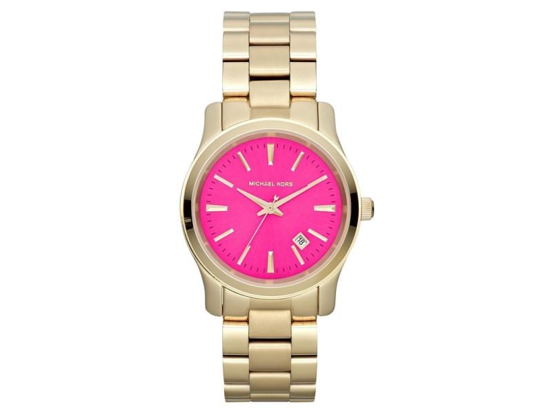 Michael Kors MK5801 Gold Tone 3 Hand Runway Pink Dial Analog Womens Watch