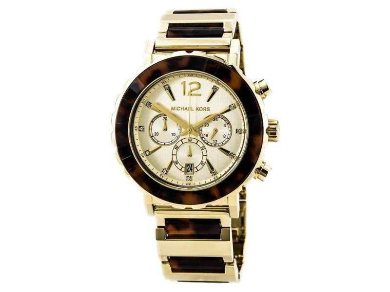 Michael Kors MK5790 Chronograph Tortoise Acrylic Gold-Tone Watch