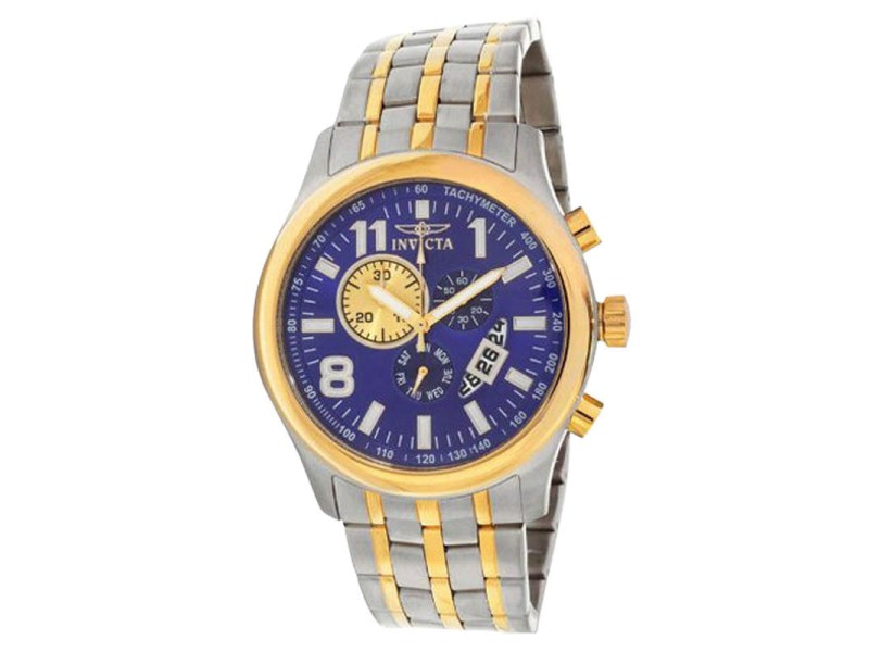 Invicta 0376 Blue Dial Two Tone Stainless Chronograph Men's Watch
