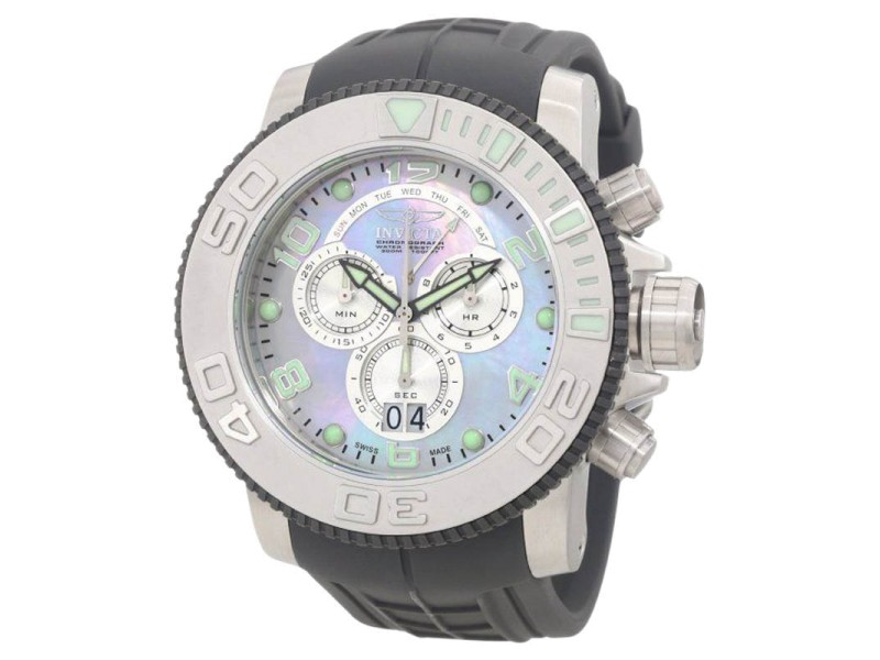 Invicta 0861 Sea Hunter Pro Diver Chronograph Platinum MOP Dial Watch