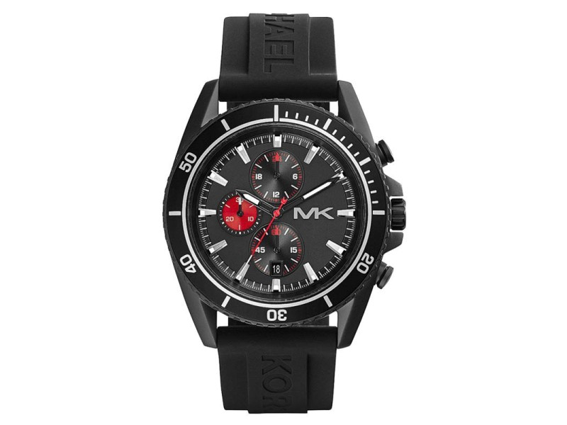 Michael Kors Chrono MK8377 Black Dial Black Silicone Jet Master Men's Watch