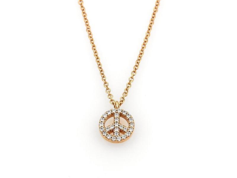 Tiffany co 18k rose gold diamond peace sign pendant necklace 18k rose gold diamond peace sign pendant necklace aloadofball Images