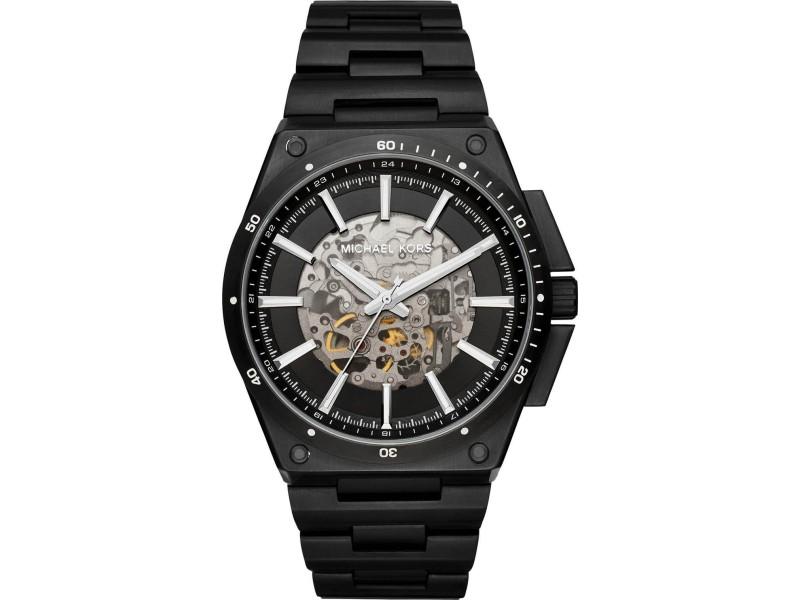 Michael Kors MK9023 Black IP Stainless Steel Skeleton Black Dial Automatic 44mm Men's Watch