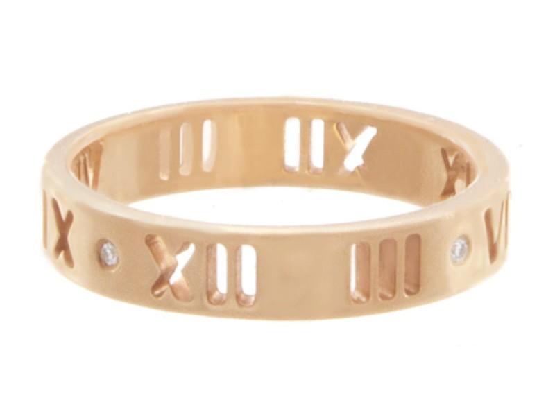 6d15b9d21 Tiffany & Co. Atlas 18K Rose Gold 750 & Diamonds Wedding Band Ring Size 5