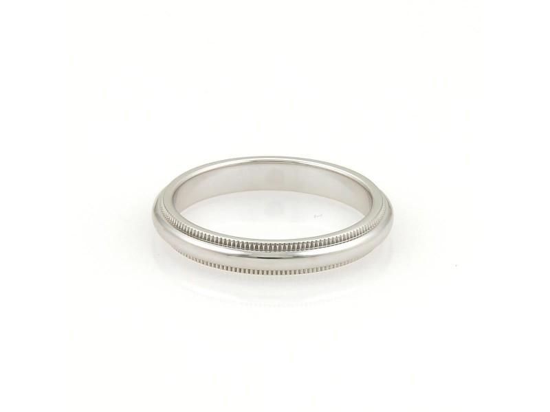 Tiffany Co Platinum Milgrain Wedding Band Ring Size 825